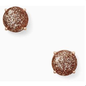 Kate Spade Glitter Gumdrop Earrings in Rose Gold